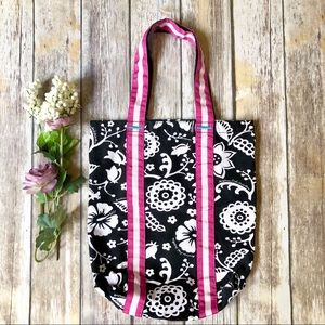 AMERICAN EAGLE Black, White & Pink Floral Tote